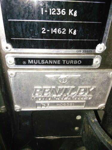 1982 Mulsanne turbo Hooper 60.000 mils For Sale (picture 4 of 6)