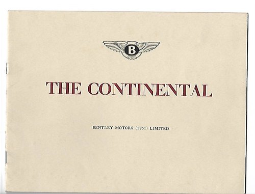 1951 Original sale brochure for BENTLEY Continental R For Sale (picture 1 of 6)