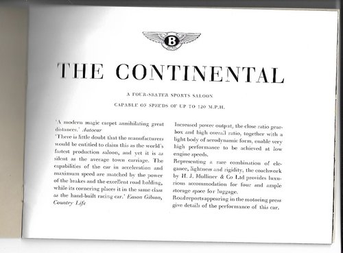 1951 Original sale brochure for BENTLEY Continental R For Sale (picture 3 of 6)