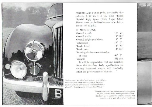 1951 Original sale brochure for BENTLEY Continental R For Sale (picture 6 of 6)
