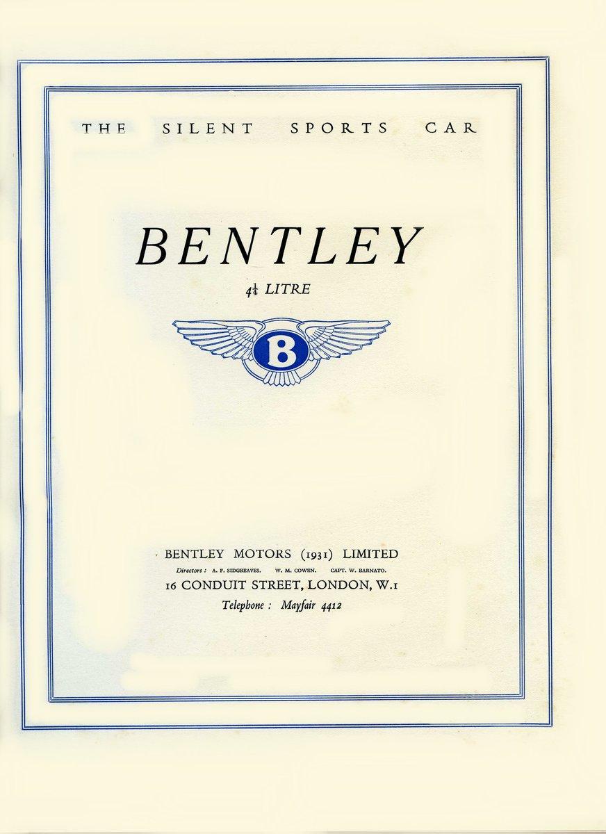 1931 Bentley Brochure ***PRICE DROP*** For Sale (picture 1 of 6)