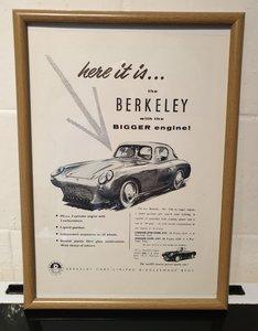 1957 Berkeley 500 Framed Advert Original