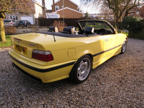 1997 BMW M3 E36 Evolution Convertible Dakar Yellow Immaculate  For Sale (picture 4 of 6)
