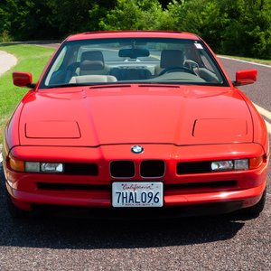 1991 BMW 850i = Six-speed Manual Clean Red 111k milles $30.9