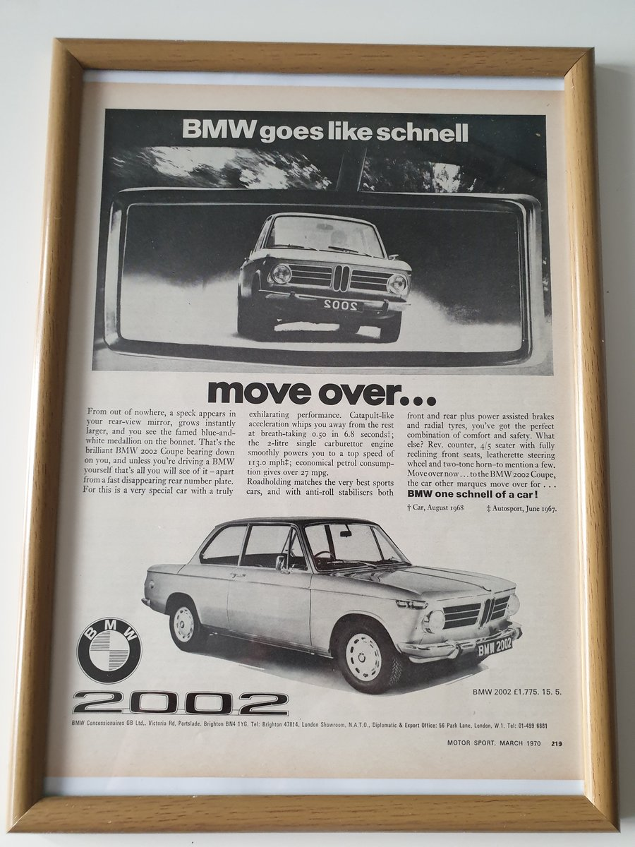 Original 1970 BMW 2002 Advert For Sale (picture 1 of 1)