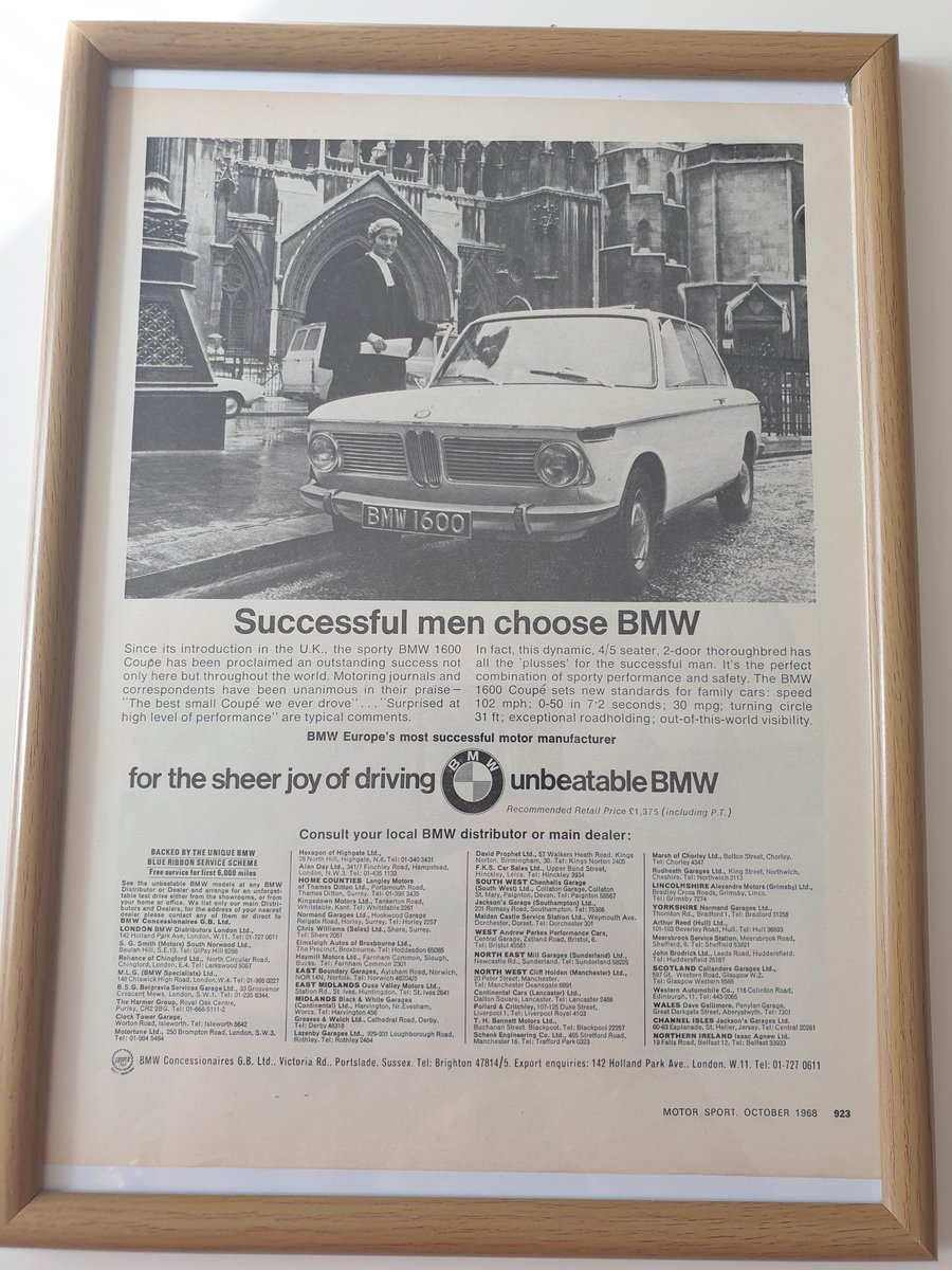 Original 1968 BMW 1600 Advert For Sale (picture 1 of 1)
