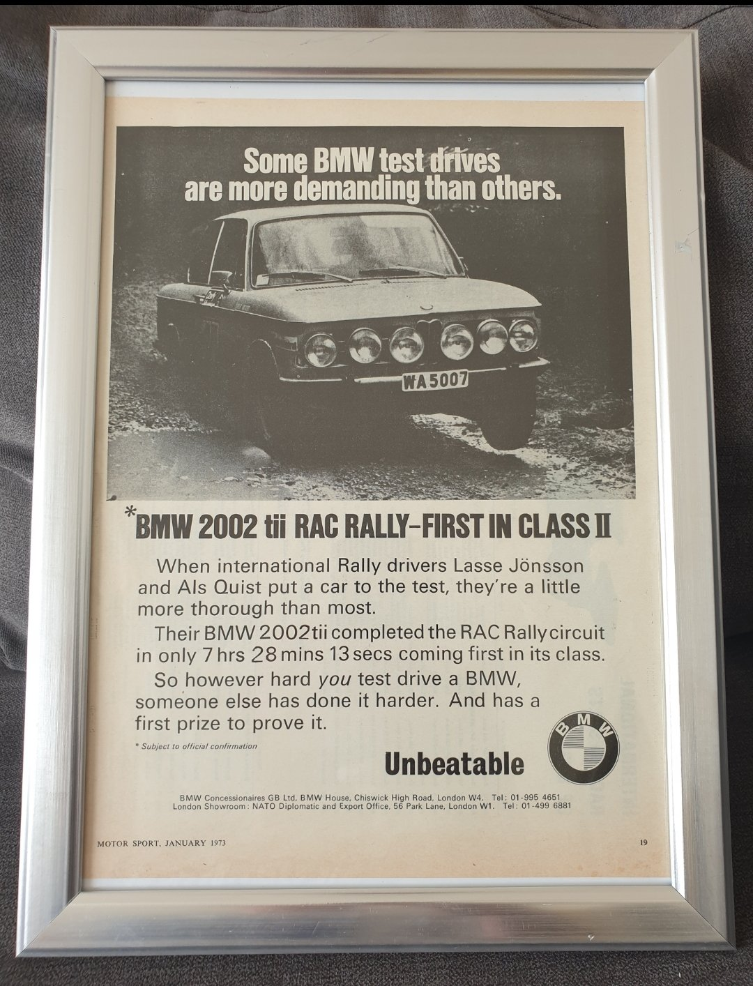 1973 BMW 2002 tii advert Original  For Sale (picture 1 of 2)