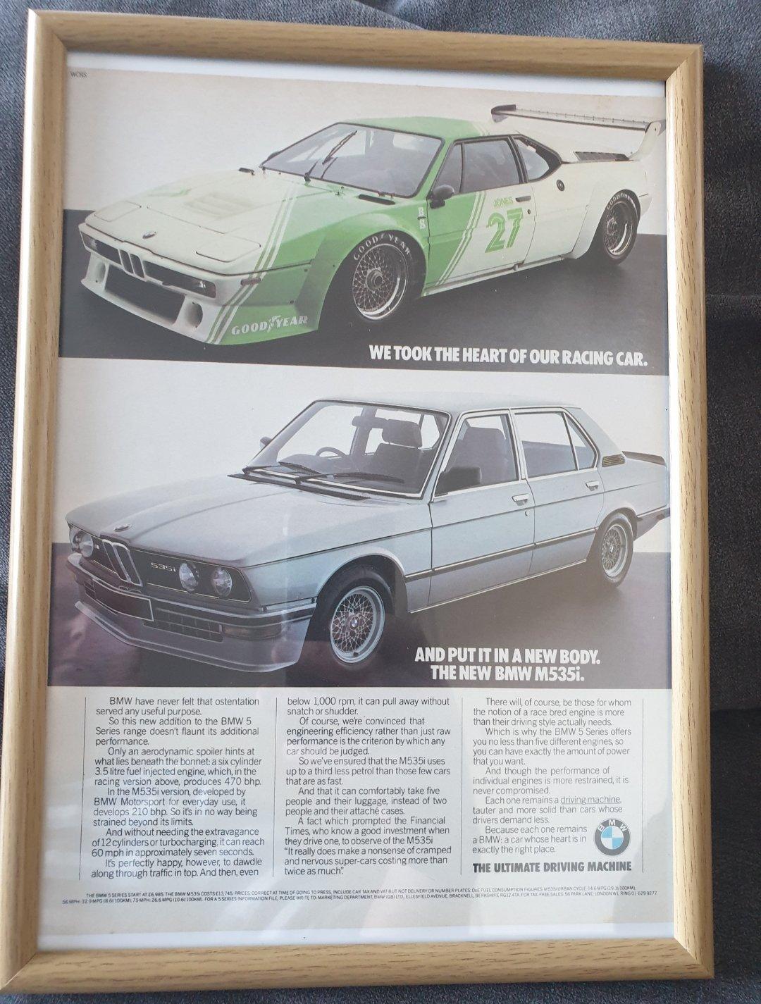 1981 Original BMW 535i Framed Advert For Sale (picture 1 of 2)