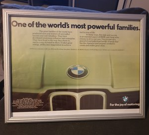 1978 BMW Framed Advert Original  For Sale