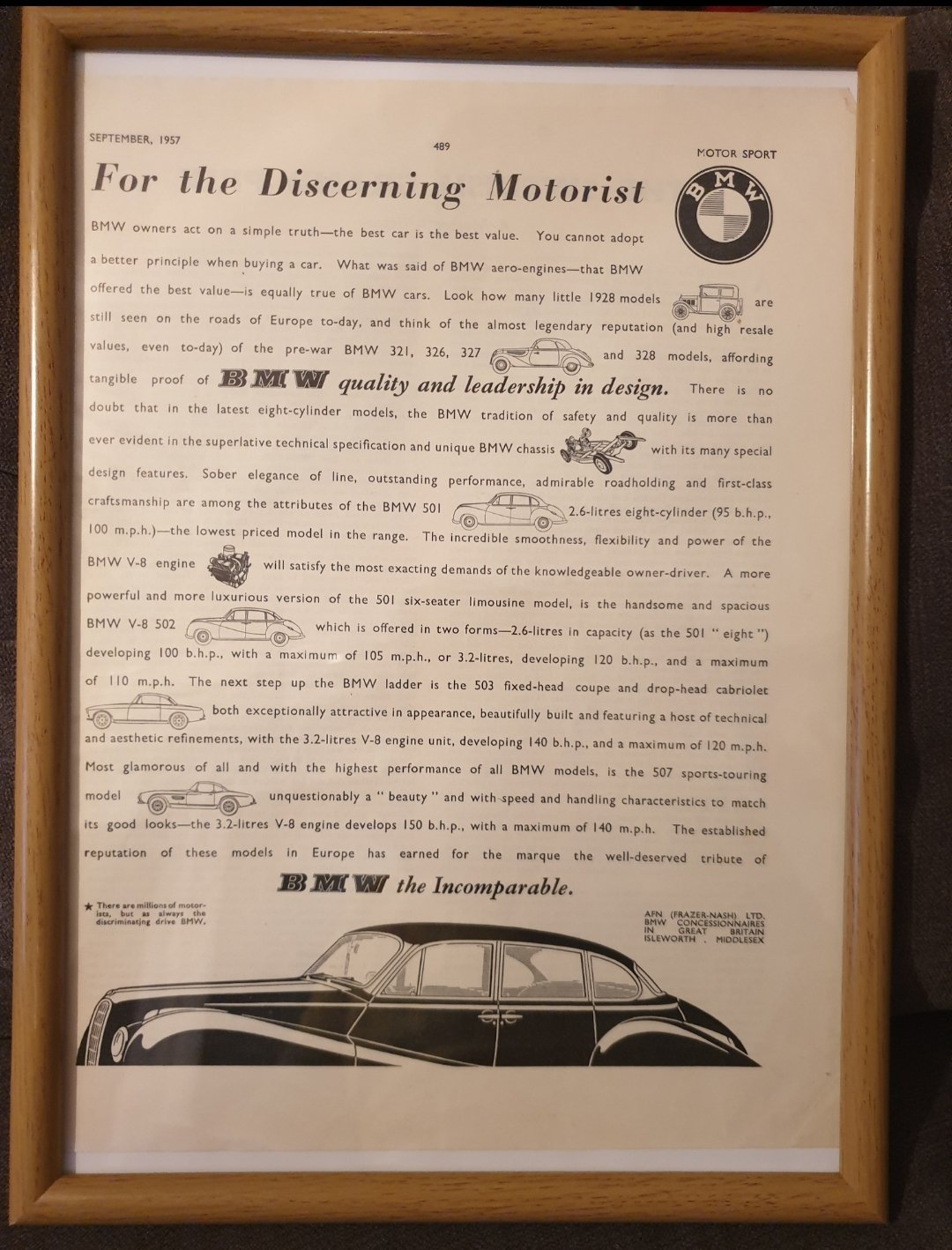 1957 BMW Framed Advert Original  For Sale (picture 1 of 2)