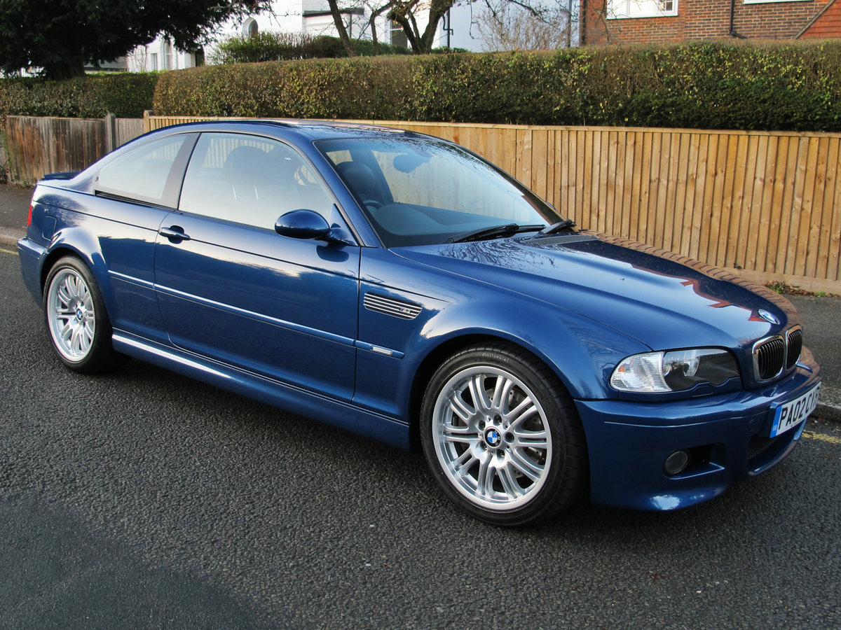 BMW M3 3.2 2002 COUPE 2 OWN 37600 FSH 10 STAMPS 'TOPAZ BLUE' For Sale (picture 1 of 6)