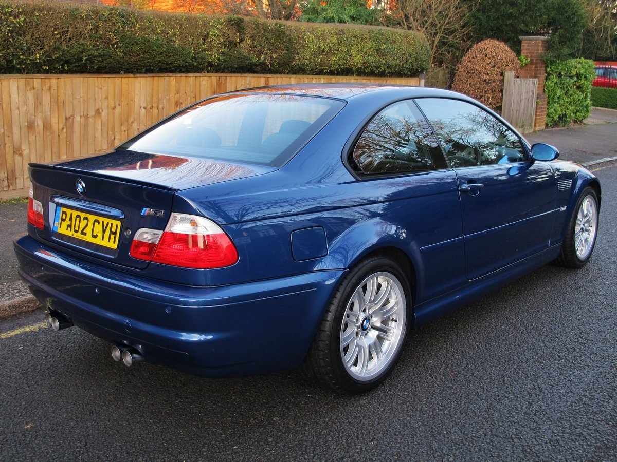 BMW M3 3.2 2002 COUPE 2 OWN 37600 FSH 10 STAMPS 'TOPAZ BLUE' For Sale (picture 3 of 6)