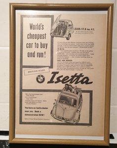 1957 BMW Isetta Framed Advert Original