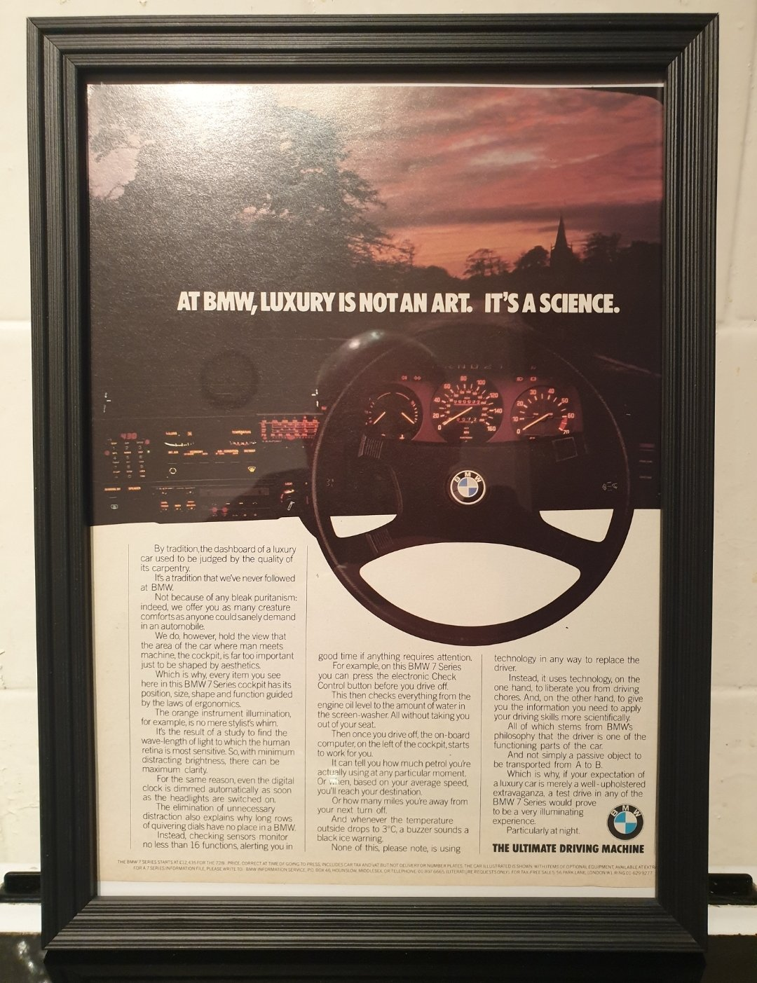 1981 BMW 7 Series Advert Original  For Sale (picture 1 of 2)
