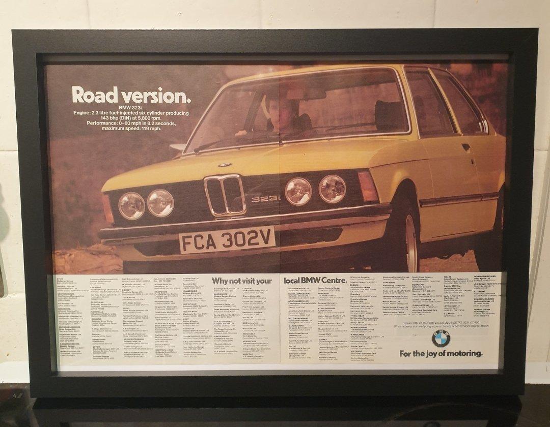 1979 BMW 323i Framed Advert Original  For Sale (picture 1 of 2)