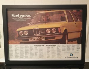 BMW 323i Framed Advert Original
