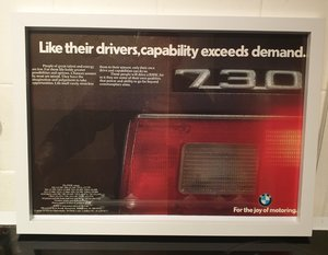 BMW 730 Framed Advert Original