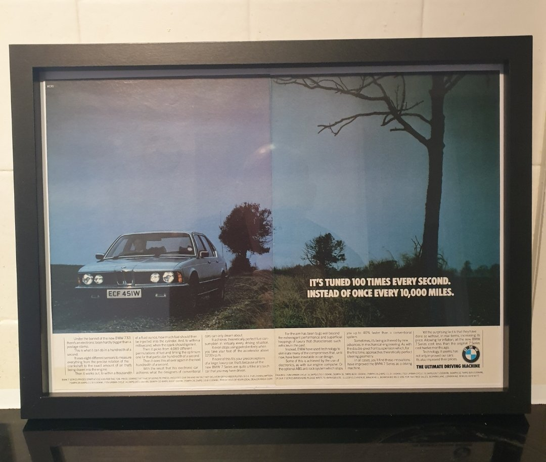 1980 BMW 7 Series Framed Advert Original  For Sale (picture 1 of 2)