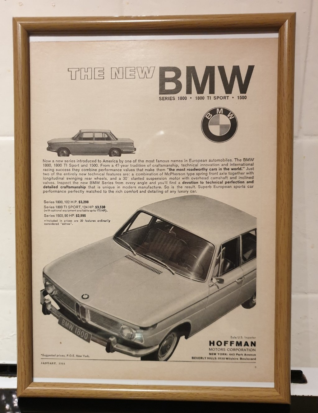 1964 BMW 1800 Framed Advert Original  For Sale (picture 1 of 2)