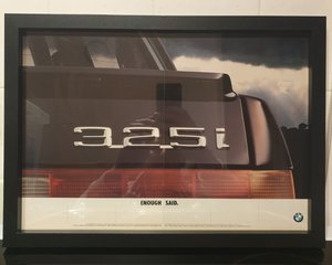 1985 Original BMW 325i Framed Advert