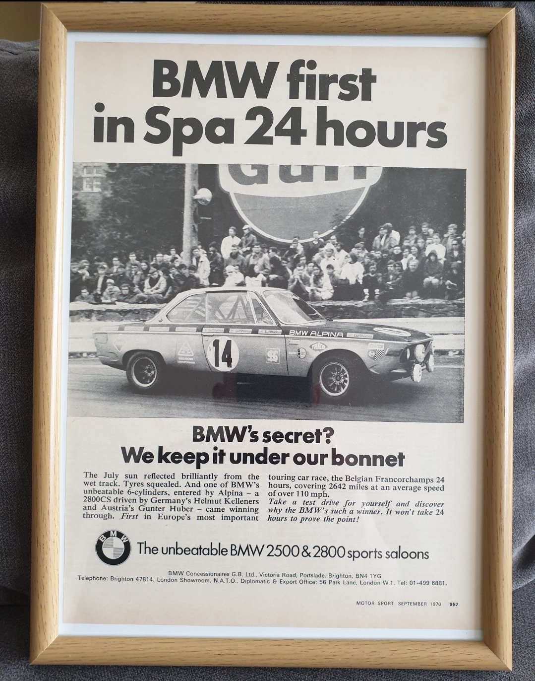 1970 BMW 2800 Framed Advert Original  For Sale (picture 1 of 2)