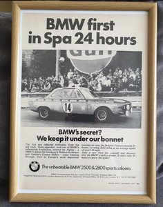 1970 BMW 2800 Framed Advert Original