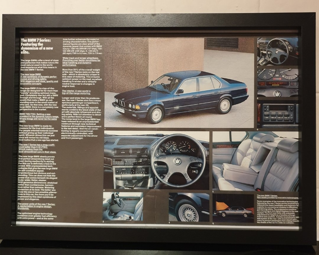 1986 Original BMW 7 Series Framed Advert For Sale (picture 1 of 2)