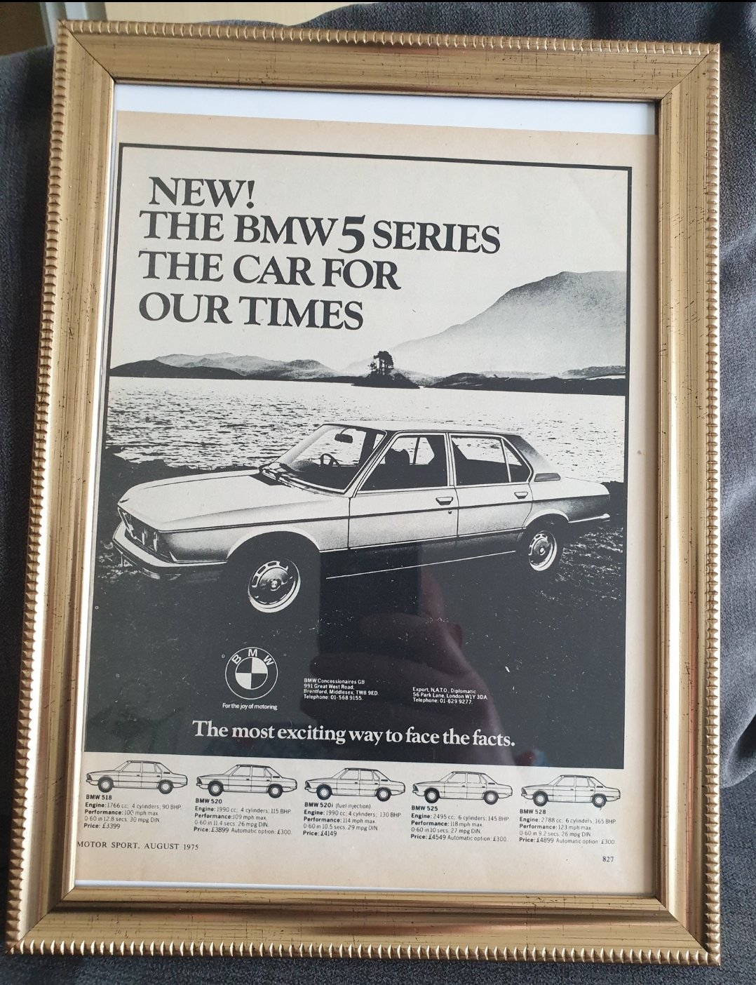 1975 BMW 5 Series framed Advert Original  For Sale (picture 1 of 2)