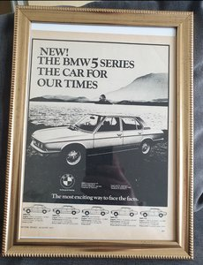 1975 BMW 5 Series framed Advert Original