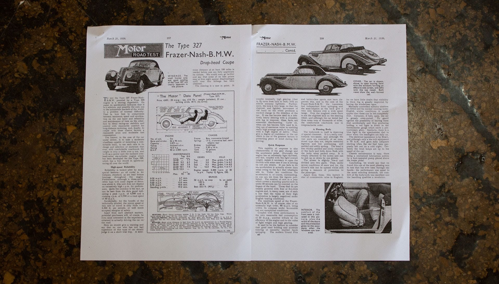 1938 Frazer Nash BMW 327/80 - Original Road Test Car For Sale (picture 6 of 6)