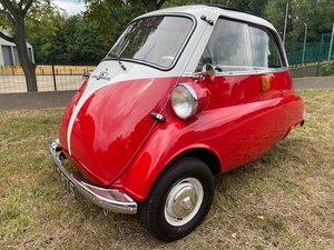 1960 BMW Isetta 300 in red with matching colour trailer