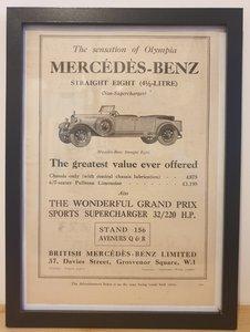 Picture of 1970 Original 1928 Mercedes Benz Framed Advert  For Sale