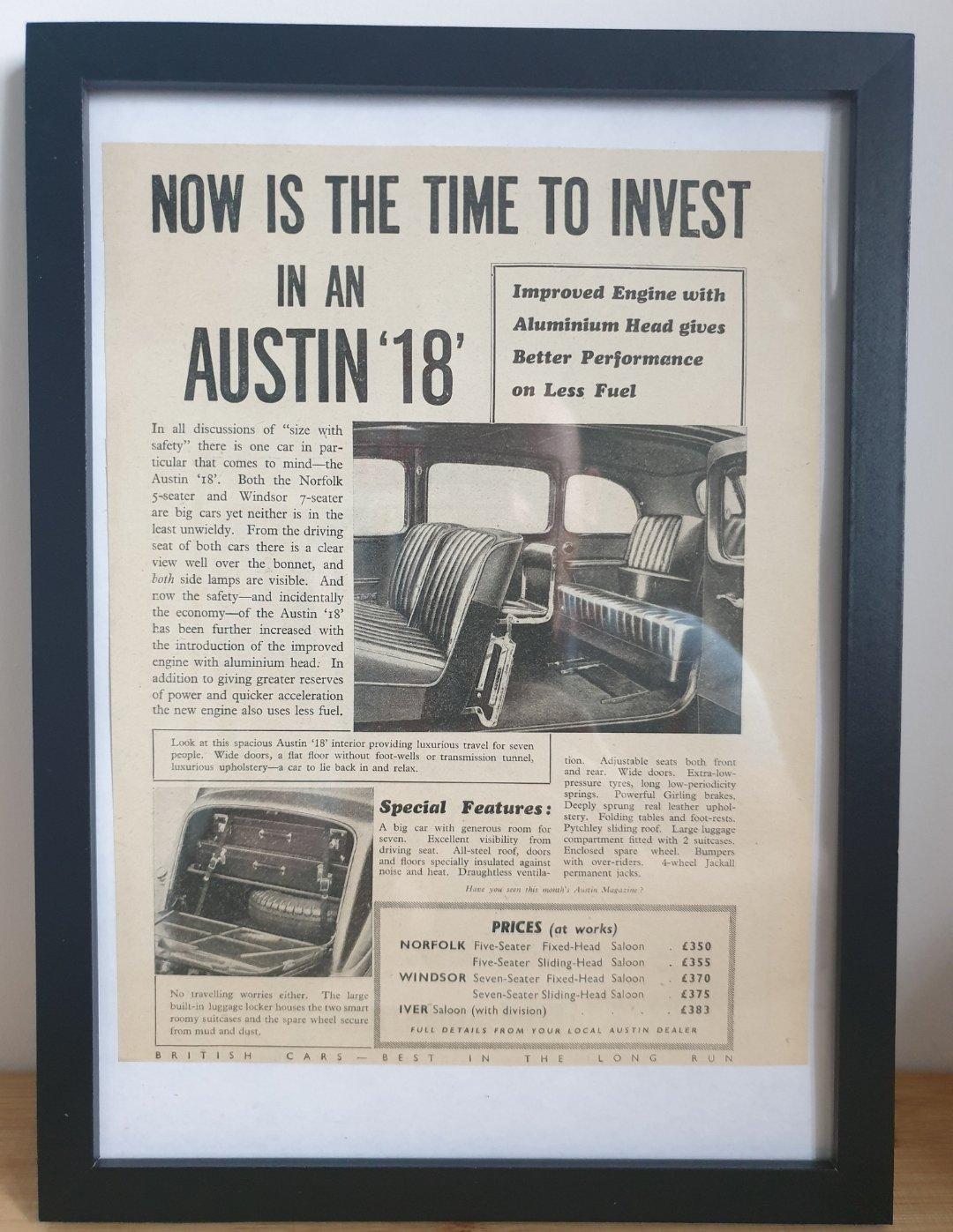 1979 Original 1938 Austin 18 Framed Advert  For Sale (picture 1 of 3)