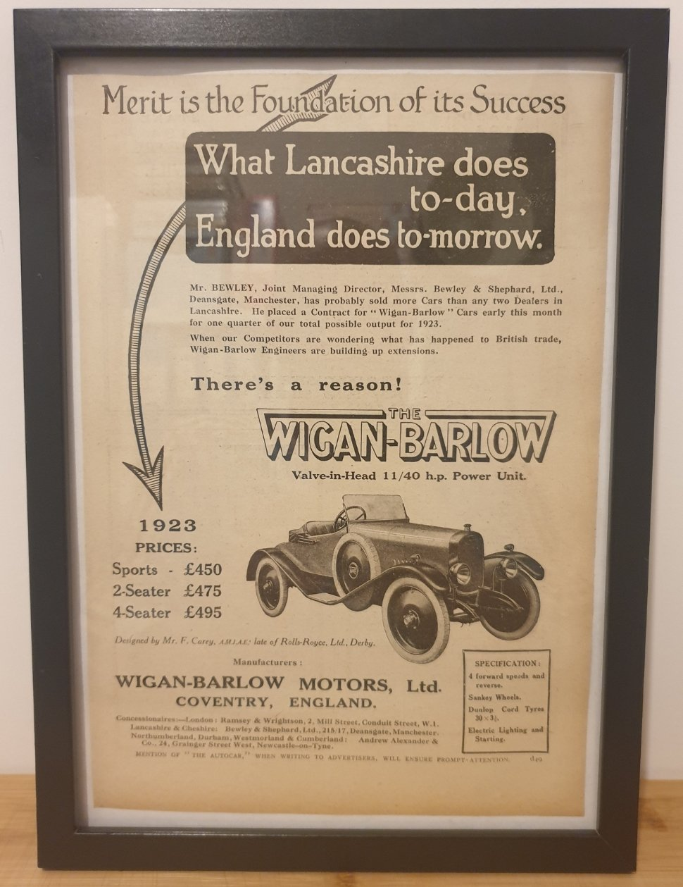 1980 Original 1922 Wigan-Barlow Framed Advert  For Sale (picture 1 of 3)