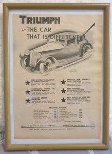Picture of 1957 Original 1933 Triumph Gloria Framed Advert
