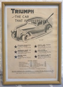 Picture of 1957 Original 1933 Triumph Gloria Framed Advert  For Sale