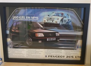 Original 1985 Peugeot 205 GTI Framed Advert