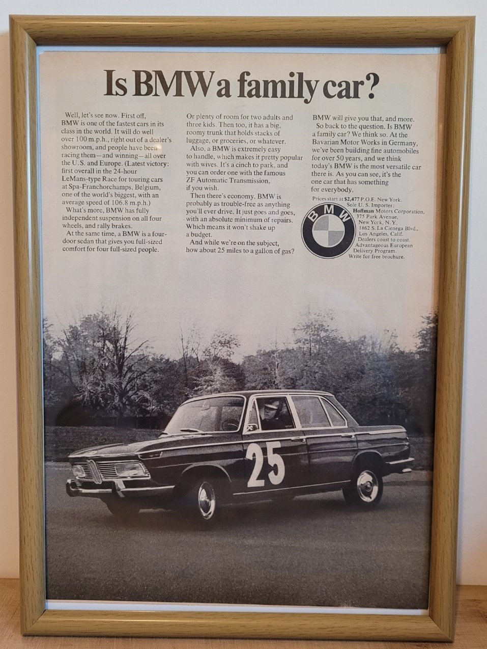 Original 1967 BMW 2000 Framed Advert