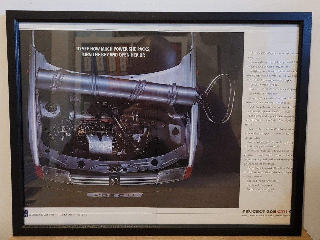 Picture of 1978 Original 1989 Peugeot 205 GTI Framed Advert For Sale