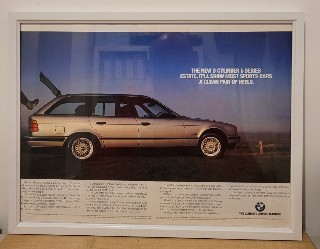 Original 1993 BMW E34 530i Framed Advert
