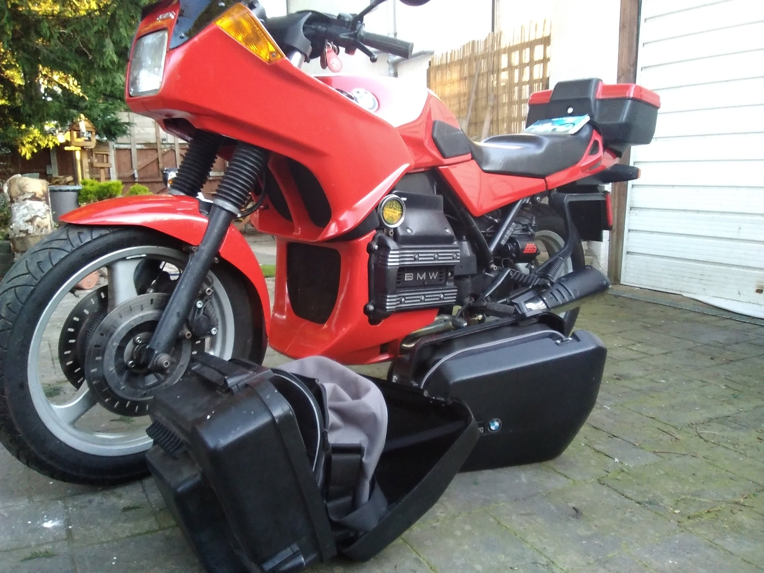 BMW K75S red touring motorcycle