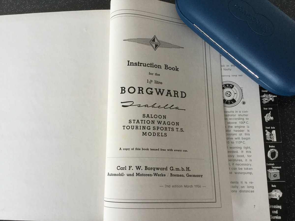 Borgward Isabella operating instructions handbook. For Sale (picture 2 of 6)