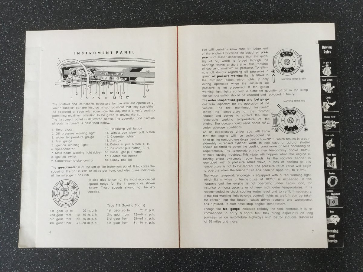 Borgward Isabella operating instructions handbook. For Sale (picture 3 of 6)