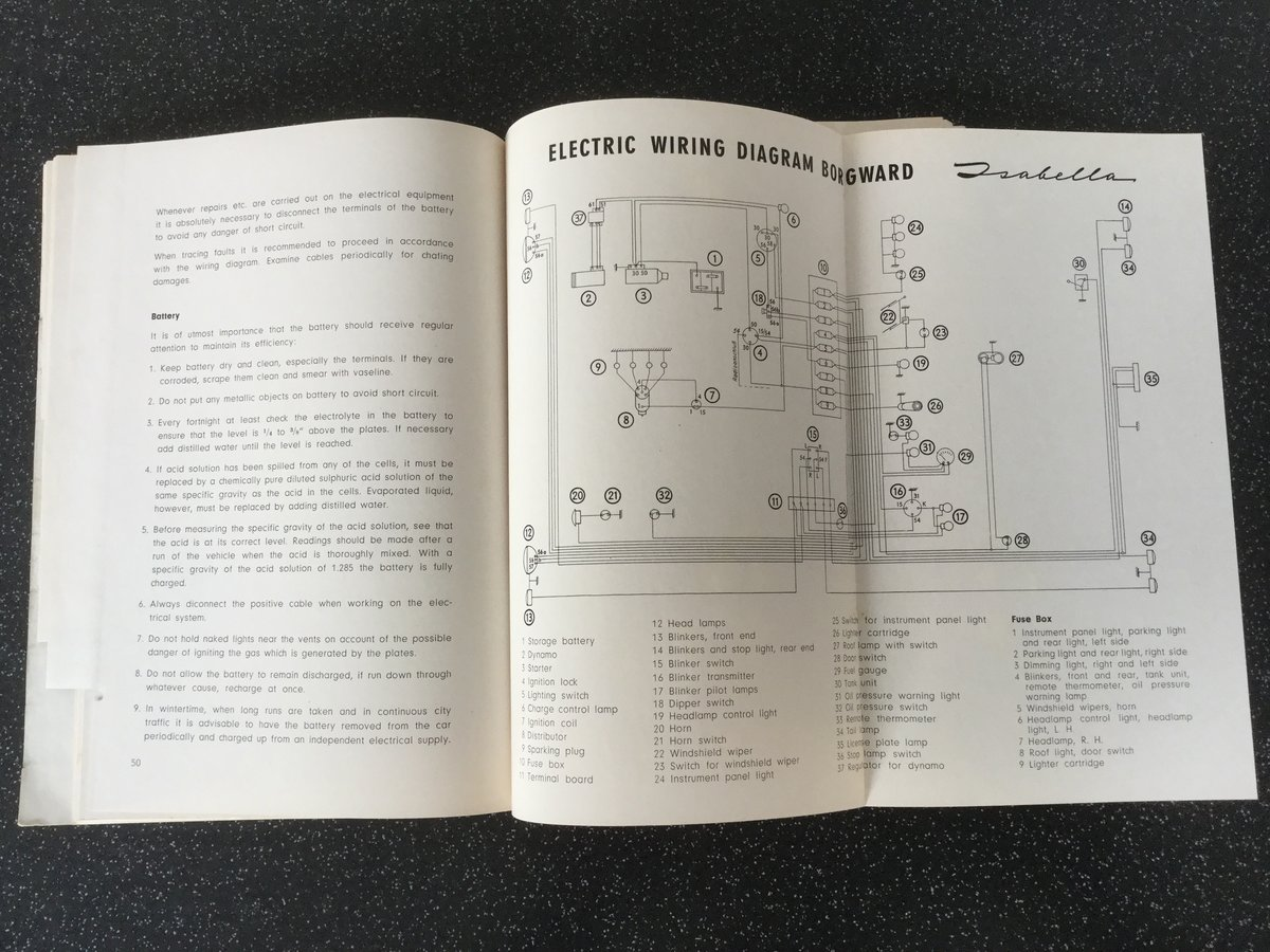Borgward Isabella operating instructions handbook. For Sale (picture 4 of 6)
