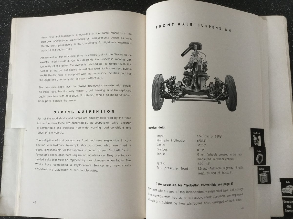 Borgward Isabella operating instructions handbook. For Sale (picture 6 of 6)