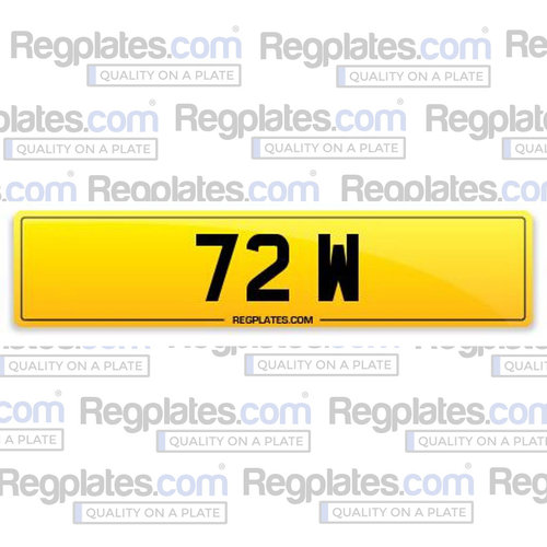 72 W - Quality Single Digit Number Plate For Sale (picture 1 of 1)