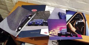 0000 BUGATTI SALES BROCHURE AND CHRISTIES AUCTION POSTER 1990