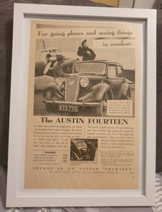 Original 1939 Austin Fourteen Framed Advert