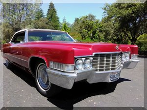 1969 Cadillac Coupe de Ville Convertible = Red(~)Ivory $19.9 For Sale