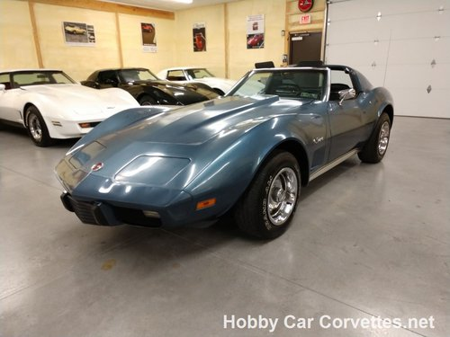 1975 Steel Blue Corvette 4spd Black Interior For Sale (picture 1 of 6)